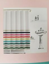 Nwt Kate Spade New York Fabric Shower Curtain Candy Stripe White Blue Teal Pink