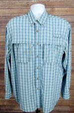 L.L. Bean Mens Blue Plaid Vented Long Sleeve Button Lightweight Fishing  Shirt L 1fb14671ea10