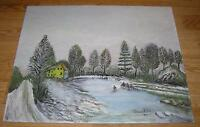 AMERICANA VINTAGE FOLK ART WINTER EVERGREENS OLD HOUSE POND COVE OIL PAINTING
