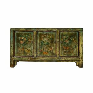 Chinese Distressed Olive Green Blue Graphic Sideboard TV Console Cabinet cs6908