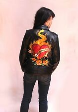 Hand Painted Leather Jacket - Courageous Heart Aflame