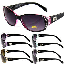 New Womens Rhinestones Oval Wrap Sunglasses Designer Fashion Shades Small Retro