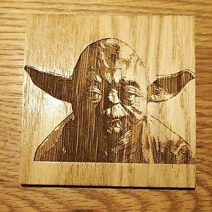 Star Wars Yoda Jedi Master Wooden Coaster Birthday Gift Geek Chic