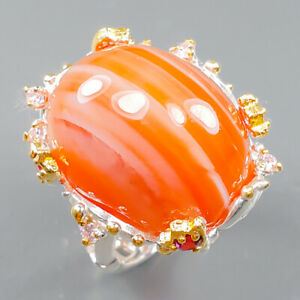35 ct+ Fancy GEM Agate Ring Silver 925 Sterling  Size 9 /R163799