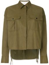 RAG & BONE WOMENS high low cropped shirt-ARMY GREEN - LARGE - BRAND NEW