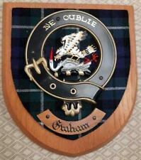 More details for vintage scottish clan graham tartan heavy oak plaque crest shield z
