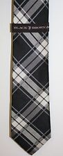 Lord and Taylor Black Silver Plaid Silk Tie Classic Width New NWTS