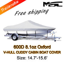 MSC 14.7-15.6ft 600D Marine Styled to fit V-Hull Cuddy Cabin Boat Cover Grey