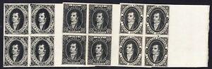ARGENTINA Lichtenstein black reprints of the 5c,10c,15c,Rivadavia 1864 set,imper