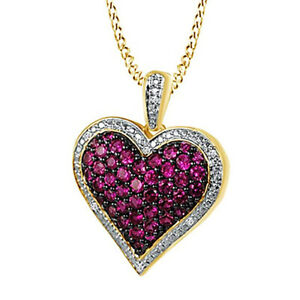1.00 Ct Round Ruby & Cubic Zirconia Heart Pendant Necklace 14K Yellow Gold Over