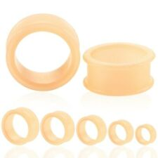 Ear Tunnel Plug Stretcher Taper Piercing- Peach Soft Silicone 1 Pair (2pcs)