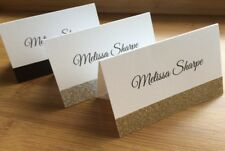 Custom WHITE Placecards Table Place Cards Gold Silver Glitter Name FAST POST