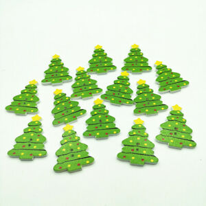 30 WOODEN CHRISTMAS TREE BUTTONS - XMAS - CARDS - BUY 5 GET 1 FREE - UK SELLER
