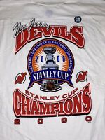VTG Deadstock New Jersey Devils 2000 NHL Stanley Cup Champions T-Shirt Sz Large