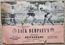 Jack Dempsey JSA Coa Autograph Restaurant Menu Hand Signed