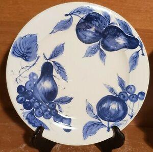 "Pier 1 MELINDA Salad plate, 8 1/4"", Earthenware, Blue Fruit, Italy"