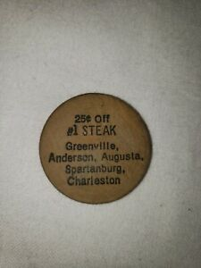Vintage Wooden Nickel #1 Steak Greenville Augusta Spartanburg Charleston
