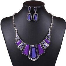 Purple Amber Like Geometric Tribal Tibet Silver Bib Choker Necklace Earrings Set