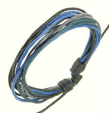 Mens Surf Surfer Style Multi-Coloured Blue Cord Bracelet Wristband Adjustable
