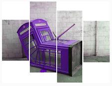 "Banksy Purple Phone Box Print 20"" X 40""+ Long 4 Panel Canvas Picture Wall Art"