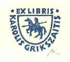 Exlibris original Gipsschnitt Wappen Reiter Pferd - Franz Grickschat 25 signiert