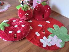 Free postage Children kids strawberry sofa cushion rug set Lounge chair red/pink