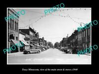 OLD LARGE HISTORIC PHOTO OF TRACY MINNESOTA, THE MAIN STREET & STORES c1940