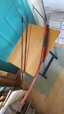 Vintage Carved Wood Bow and Two Wooden Arrows with Feathers and Pewter Tips