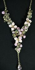 "BETSEY JOHNSON STATEMENT NECKLACE, ""MARIE ANTOINETTE"", Y-SHAPE WITH PINK FLOWERS"