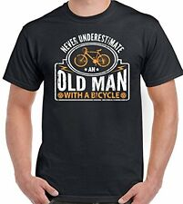 Never Underestimate An Old Man With A Bicycle - Mens Funny Cycling T-Shirt Bike