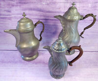 Vintage Lot Pewter Coffee Tea Chocolate Pots Hinged Lids Wrapped Handles Finials