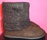 Boots 6 Booties Brown Sweater Ankle Shimmer Flat Comfy Slippers Pull On Women's