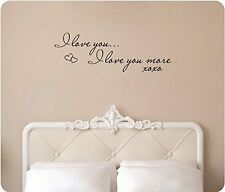 "34"" I Love You I Love You More XOXO Hugs Kisses Wall Decal Sticker Home Decor"