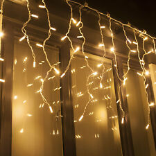 Warm White Icicle Christmas Twinkle Lights Professional Connectable from Qbis