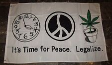 3x5 It's Time for Peace Legalize Weed Marijuana Flag 3'x5' Brass Grommets