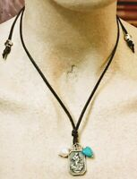 Sundance Cowgirl turquoise heart & real pearl dark brown leather charm necklace