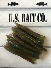 """Worms 3.75"""" St Finesse Worm Color Reverse Green Weenie Lot Of 45 Drop Shot Baits"""