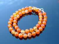 Carnelian Natural Gemstone Necklace 8mm Beaded Silver 16-30inch Healing Stone