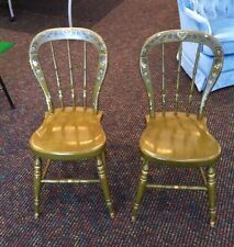 2 Ethan Allen Heirloom Maple Green Decorated Farmhouse Chairs - Free Shipping!
