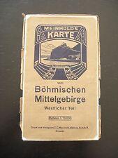 alte Meinhold Karte Böhmisches Mittelgebirge Westlicher Teil Landkarte um 1920