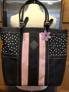 TOTE ALLY COOL THE ORIGINAL Crafters Tote Bag Scrapbook Black Pink White Large