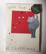 Avec Amour à Noël Cartoon Grey Cat Stars 12 petites cartes de Noël PROMOTION