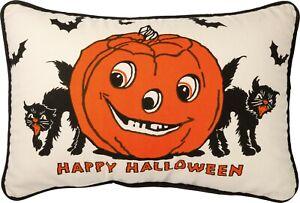Annie Schickel Happy Halloween Pillow Jack-o'Lantern Black Cat