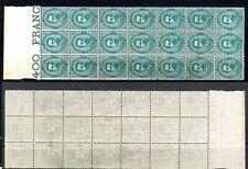 Umberto 1° -  1879 - cent 5 - Sassone  37 -  blocco da 21  - senza gomma