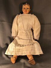 """Vintage Doll 22"""" Cloth Body Jointed Composite Face Hands Feet Clothing Restored"""