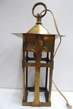 ANTIQUE ART NOUVEAU BRASS PORCH LIGHT HANGING LAMP ARTS & CRAFTS