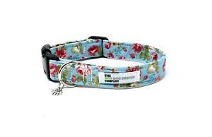 Flower Dog Collar, Vintage Rose Flower, Adjustable Dog Collar