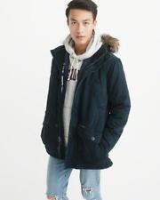 Abercrombie & Fitch Men's B 9 Sherpa Lined NAVY Parka Jacket size SMALL