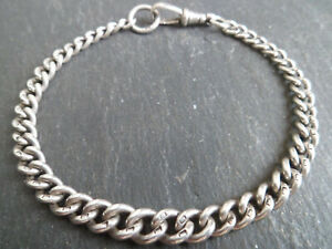 "Antique Victorian Solid Silver Albert Chain Bracelet Graduated 18.5cm 7.25"" Long"