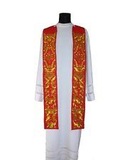 Red Gothic Clergy Stole SH522-C Vestment Étole Rouge Rot Stola Rossa Estola Roja